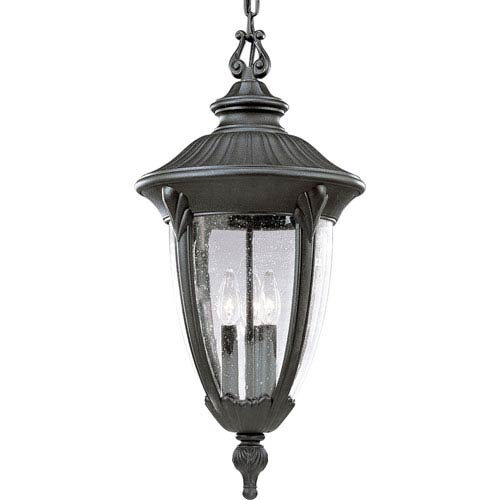 P5520-31:  Meridian Black Three-Light Outdoor Pendant