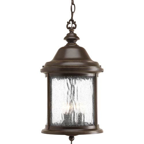 Progress Lighting Ashmore Antique Bronze Three-Light Outdoor Pendant with Water Seeded Glass Curved Panels