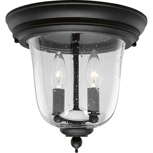 P5562-31:  Ashmore Textured Black Two-Light Outdoor Flush Mount