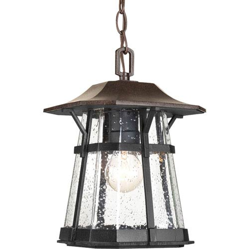 Derby Espresso One-Light Outdoor Pendant with Clear Seeded Glass