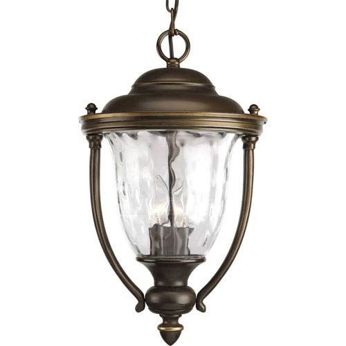 Prestwick Oil Rubbed Bronze Three-Light Outdoor Pendant with Clear optic Glass