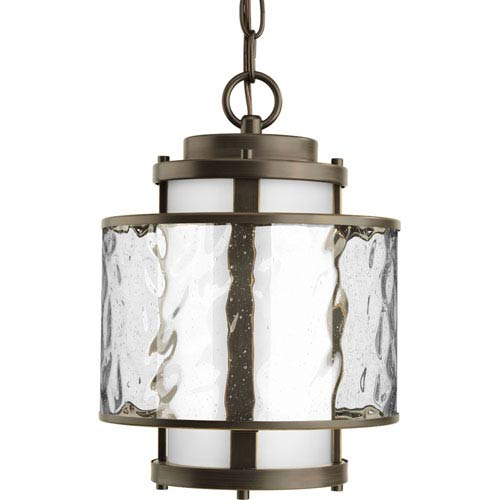 Progress Lighting Bay Court Outdoor Antique Bronze One-Light Outdoor Pendant with Distressed Clear and Etched Opal Glass