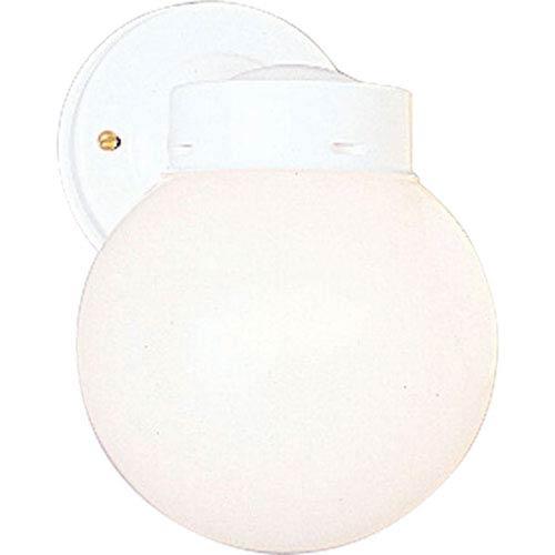 Progress Lighting Utility Lantern White One-Light Outdoor Wall Mount with White Glass