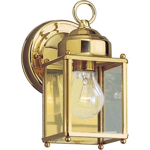 Progress Lighting Flat Glass Lantern Polished Brass One-Light Outdoor Wall Sconce with Clear Flat Glass