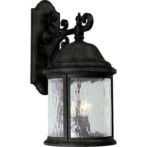 P5651-31:  Ashmore Textured Black Three-Light Outdoor Wall Lantern
