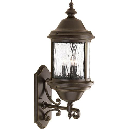 Progress Lighting Ashmore Antique Bronze 28-Inch Three-Light Outdoor Wall Mount with Water Seeded Glass Curved Panels