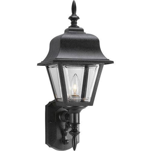 P5656-31:  Black One-Light Clear Beveled Outdoor Wall Lantern