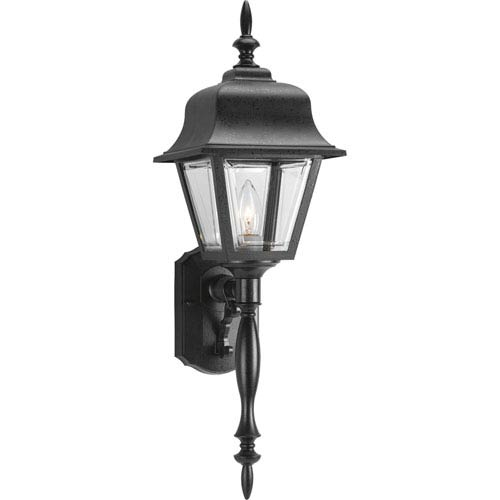 Progress Lighting Non-Metallic Incandescent Black One-Light Outdoor Wall Sconce with Clear Beveled Acrylic Panels