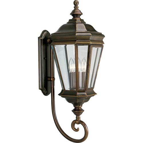 P5672-108:  Crawford Oil Rubbed Bronze Three-Light Outdoor Wall Lantern