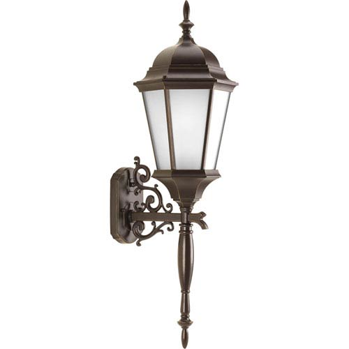 Progress Lighting Welbourne Antique Bronze 31.25-Inch One-Light Outdoor Wall Lantern with Etched Glass Cylinder