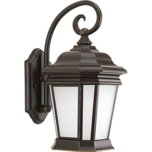 Progress Lighting Crawford Oil Rubbed Bronze 16.75-Inch One-Light Outdoor Wall Lantern with Etched White Glass Panels