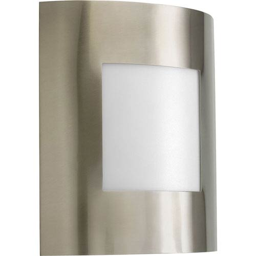 Progress Lighting Anson Brushed Nickel One-Light Outdoor Wall Lantern with White Acrylic Diffuser