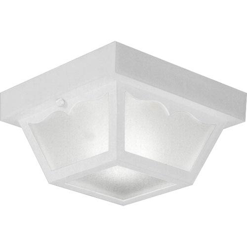 White One-Light Outdoor Ceiling Flush Mount with White Acrylic Diffuser