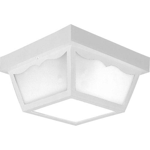 Progress Lighting White Two-Light Outdoor Ceiling Flush Mount with White Acrylic Diffuser
