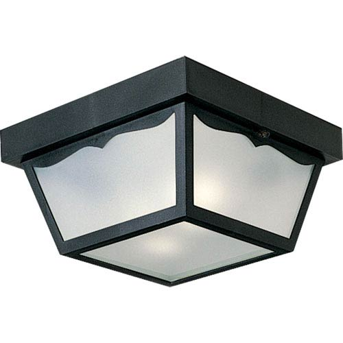 Progress Lighting Black Two-Light Outdoor Ceiling Flush Mount with White Acrylic Diffuser