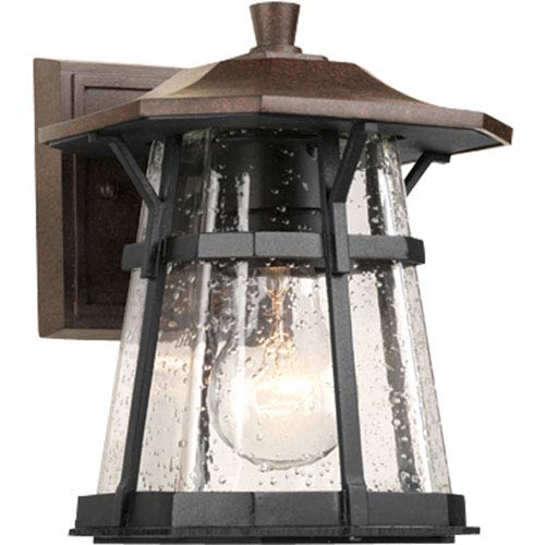 Progress Lighting Derby Espresso 8.37-Inch One-Light Outdoor Wall Lantern with Clear Seeded Glass