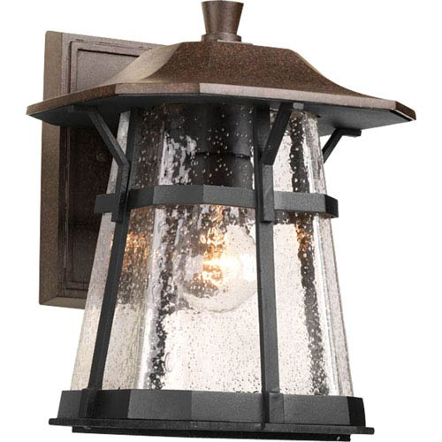 Progress Lighting Derby Espresso 11-Inch One-Light Outdoor Wall Lantern with Clear Seeded Glass