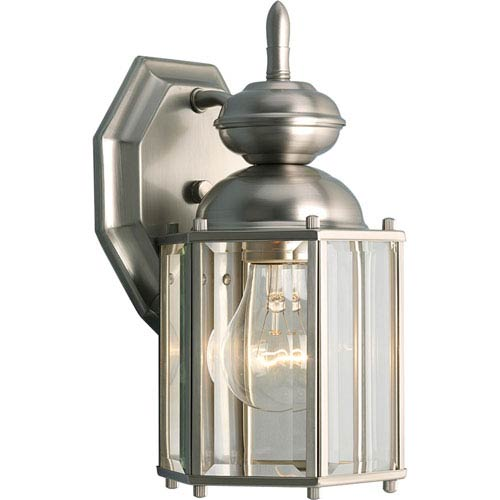 BrassGUARD Lantern Brushed Nickel One-Light Outdoor Wall Sconce with Clear beveled Glass