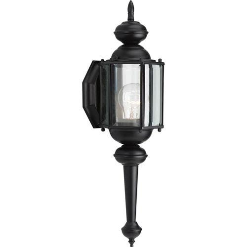 Progress Lighting BrassGUARD Lantern Black 18.75-Inch One-Light Outdoor Wall Sconce with Clear beveled Glass