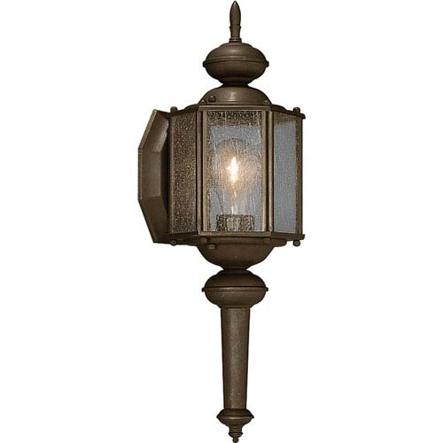 Progress Lighting Roman Coach Antique Bronze One-Light 13.5-Inch Outdoor Wall Sconce with Clear Seeded Glass