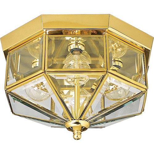 P5789-10:  Polished Brass Four-Light Outdoor Flush Mount