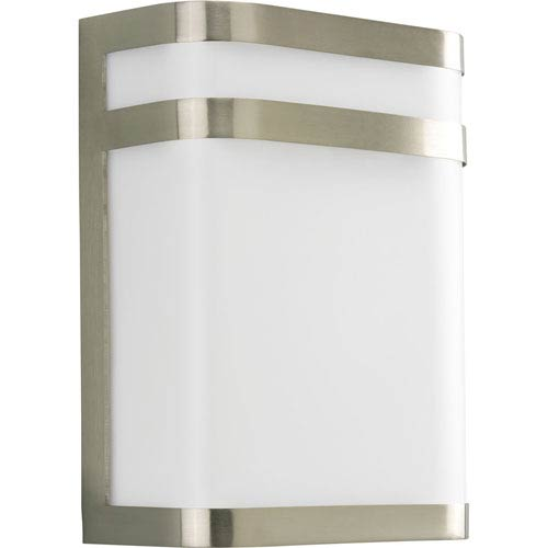 Progress Lighting Valera Brushed Nickel 11.12-Inch One-Light Outdoor Wall Lantern with White Acrylic Diffuser