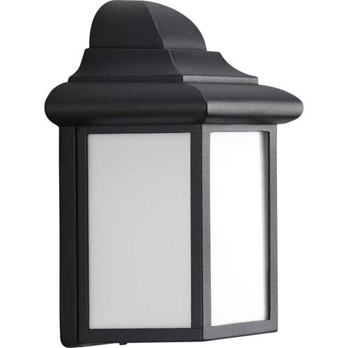 Progress Lighting Millford Black One-Light Outdoor Wall Sconce with White Acrylic Diffuser
