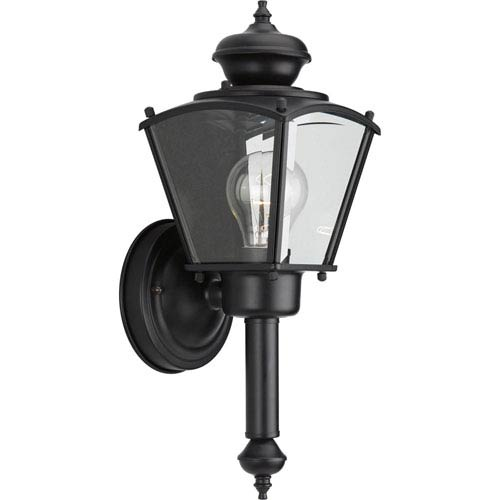 BrassGUARD Lantern Black One-Light Outdoor Wall Sconce with Clear beveled Glass
