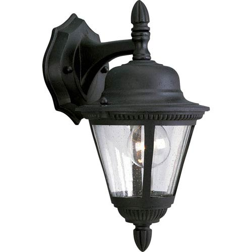 Progress Lighting Westport Textured Black One-Light Outdoor Wall Sconce with Clear Seeded Glass