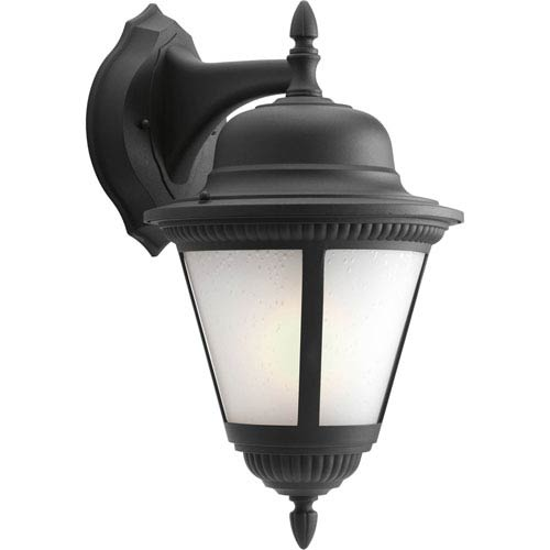 Progress Lighting Westport Black 19.25-Inch One-Light Outdoor Wall Lantern with Etched Seeded Glass
