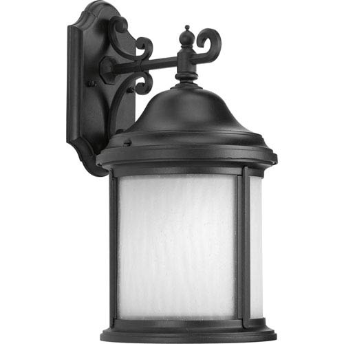 Progress Lighting Ashmore Black One-Light Outdoor Wall Lantern with Etched, Water Seeded Glass Curved Panels
