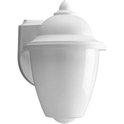 Progress Lighting Non-Metallic White One-Light Outdoor Wall Sconce with White Acrylic Globe