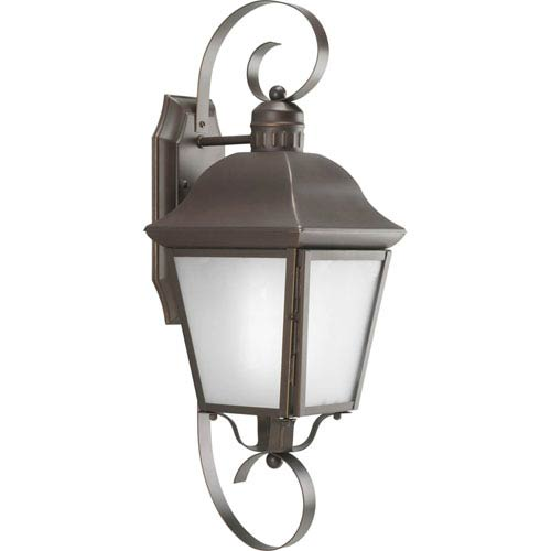 Progress Lighting Andover Antique Bronze 21.37-Inch One-Light Outdoor Wall Lantern with Etched Glass Panels