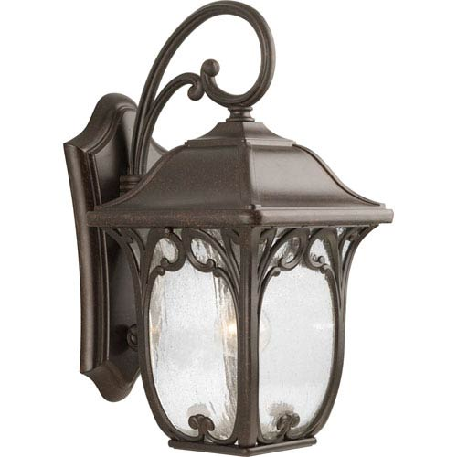 Progress Lighting Enchant Espresso 19.25-Inch One-Light Outdoor Wall Lantern with Clear Seeded Glass Panels