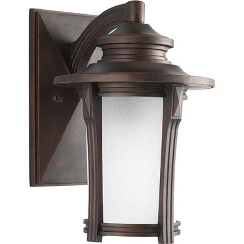 Progress Lighting Pedigree Autumn Haze One-Light Outdoor Wall Lantern with Etched Seeded Glass Cylinder