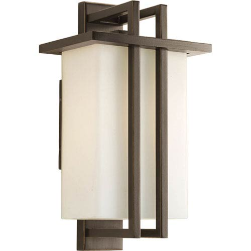Progress Lighting Dibs Outdoor Antique Bronze 14-Inch One-Light Outdoor Wall Lantern with Opal Etched Glass Shade