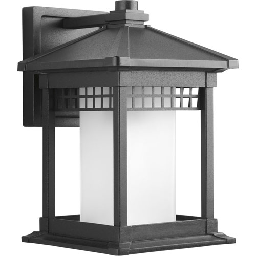 Progress Lighting Merit Black 12.25-Inch One-Light Outdoor Wall Lantern with Etched Glass Cylinder