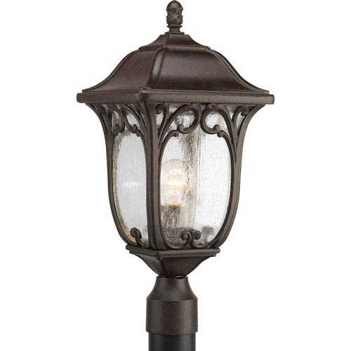 Progress Lighting Enchant Espresso One-Light Outdoor Post Lantern with Clear Seeded Glass Panels
