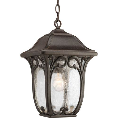 Progress Lighting Enchant Espresso One-Light Outdoor Pendant with Etched Glass Panels