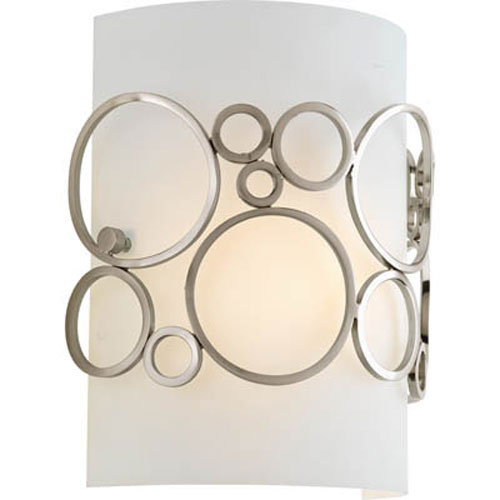 Progress Lighting Bingo Brushed Nickel One Light Wall Sconce With White Acrylic Diffuser