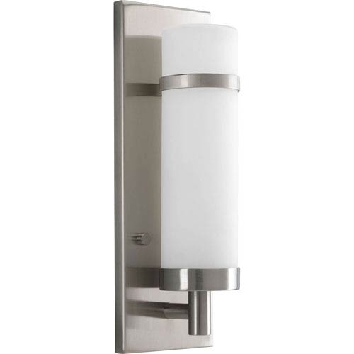 Sconce Brushed Nickel One-Light Wall Sconce with Etched opal Glass Cylinder