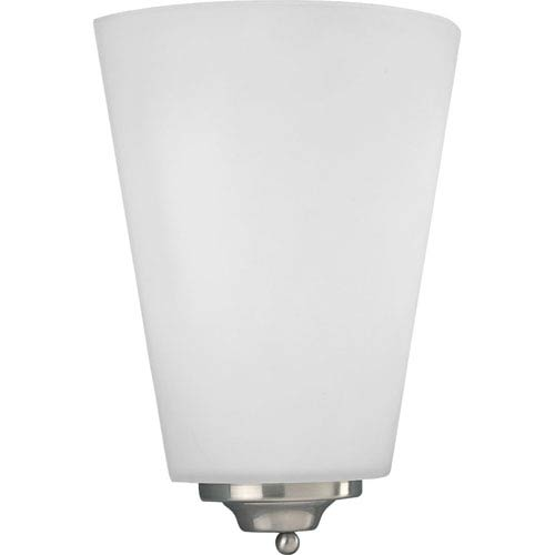 Progress Lighting Brushed Nickel 10.75-Inch One-Light Wall Sconce with Opal Etched Glass