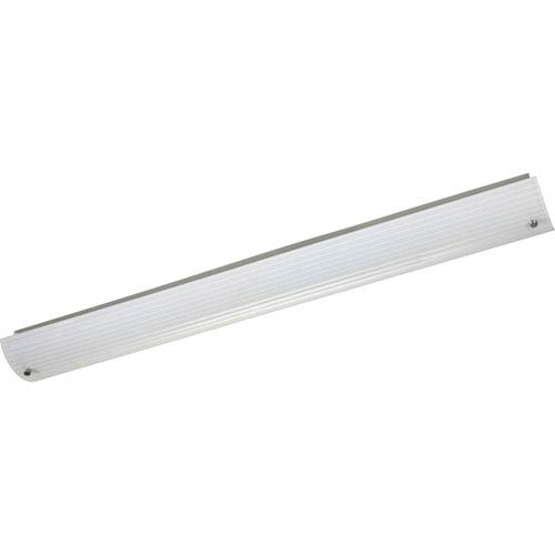 Progress Lighting Ribbed Linear Brushed Nickel Two-Light 48-Inch Bath Fixture with Etched Ribbed Glass Diffuser