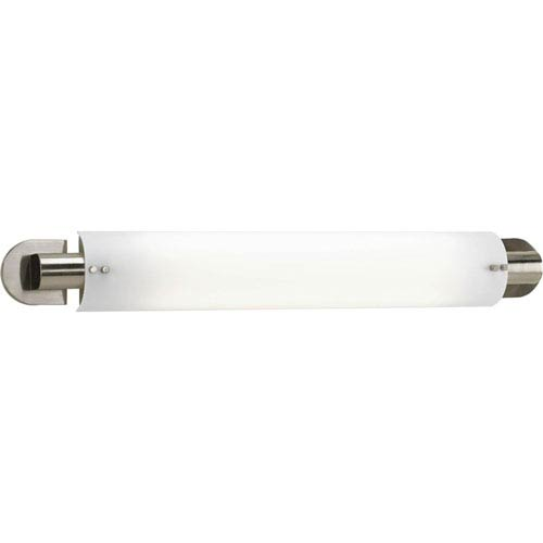 Progress Lighting Linear Fluorescent Brushed Nickel Two-Light 33.25-Inch Modular Fluorescent with White Acrylic Diffuser