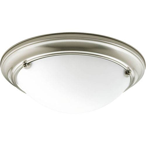 Eclipse Brushed Nickel Two-Light 4.62-Inch Flush Mount with Satin White Glass Bowl
