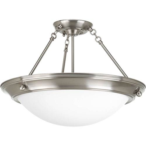 Eclipse Brushed Nickel Four-Light 20.5-Inch Semi-Flush Mount with Satin White Glass Bowl