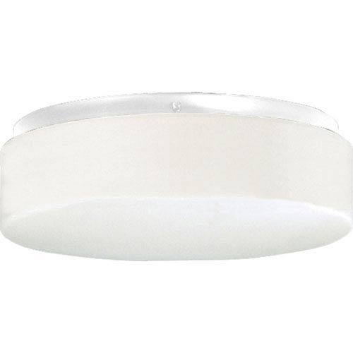 Progress Lighting P7376-30:  White Two-Light Outdoor Fluorescent Flush Mount