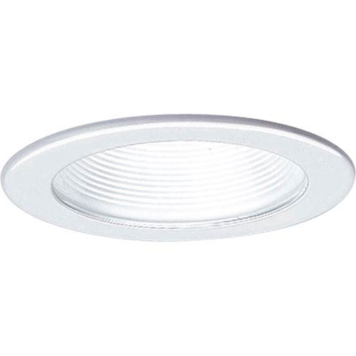 P8044-28:  4-Inch 120V White Step Baffle Incandescent Trim