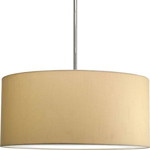 Markor and Choloe Beige Silken Fabric 22 x 10-Inch Modular Pendant with 22-Inch Drum Shade
