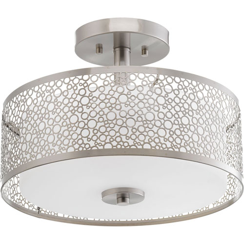 Mingle Brushed Nickel LED 14 x 10.5-Inch Inch One-Light Flush Mount with Etched Parchment Shade